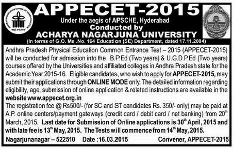 AP PECET 2015 by ANU Notification Eligibility and Important Dates