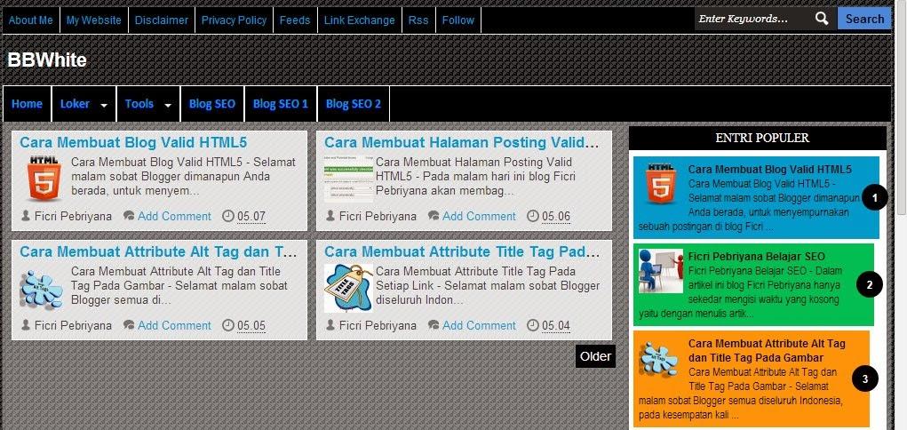BBWhite Responsive Blogger Template Valid HTML5 dan CSS3