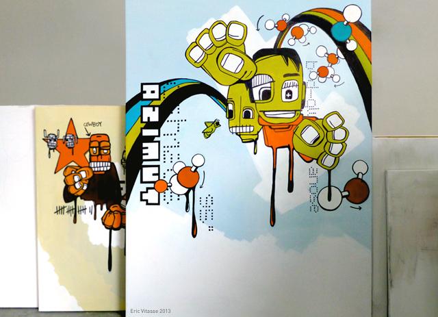 """Peinture """"Azimut (Lucie)"""" - acrylique sur toile"""