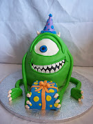 Mike Wazowski from Monster's Inc. chocolate cake with cream cheese filling