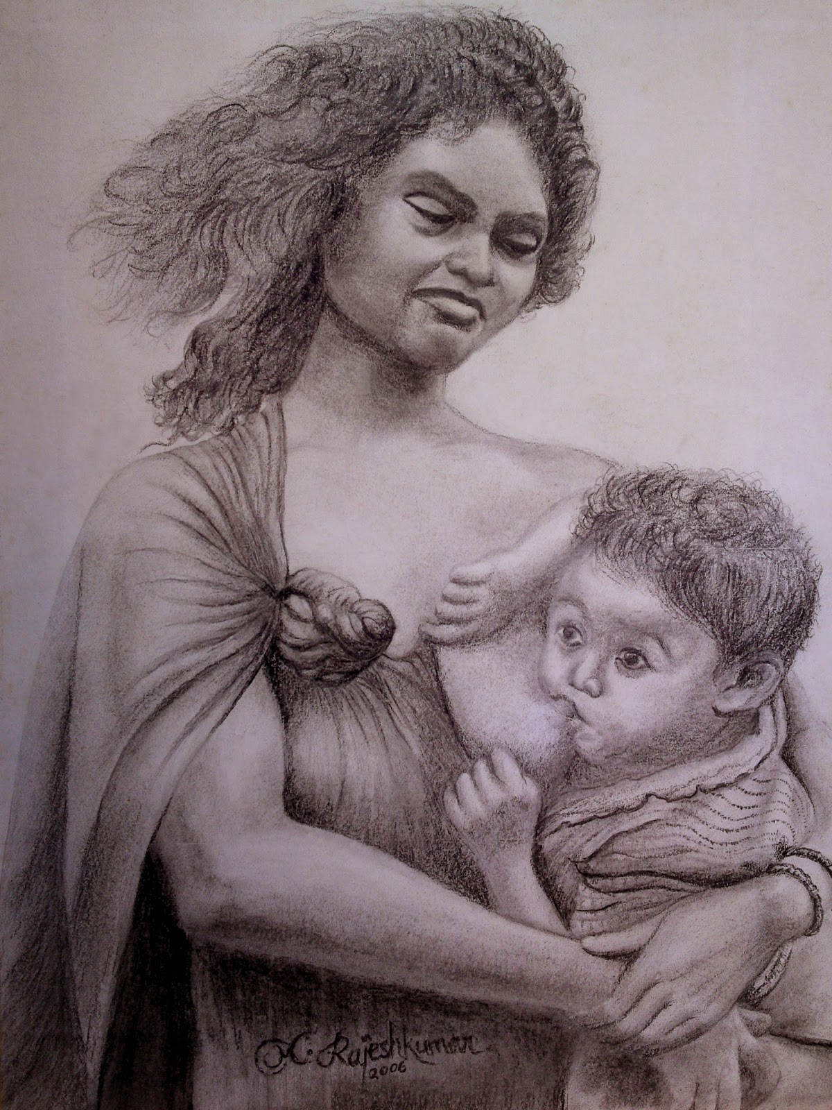 Mother and baby pencil sketch
