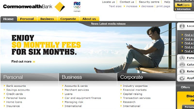 Commbank Bank homepage screenshot