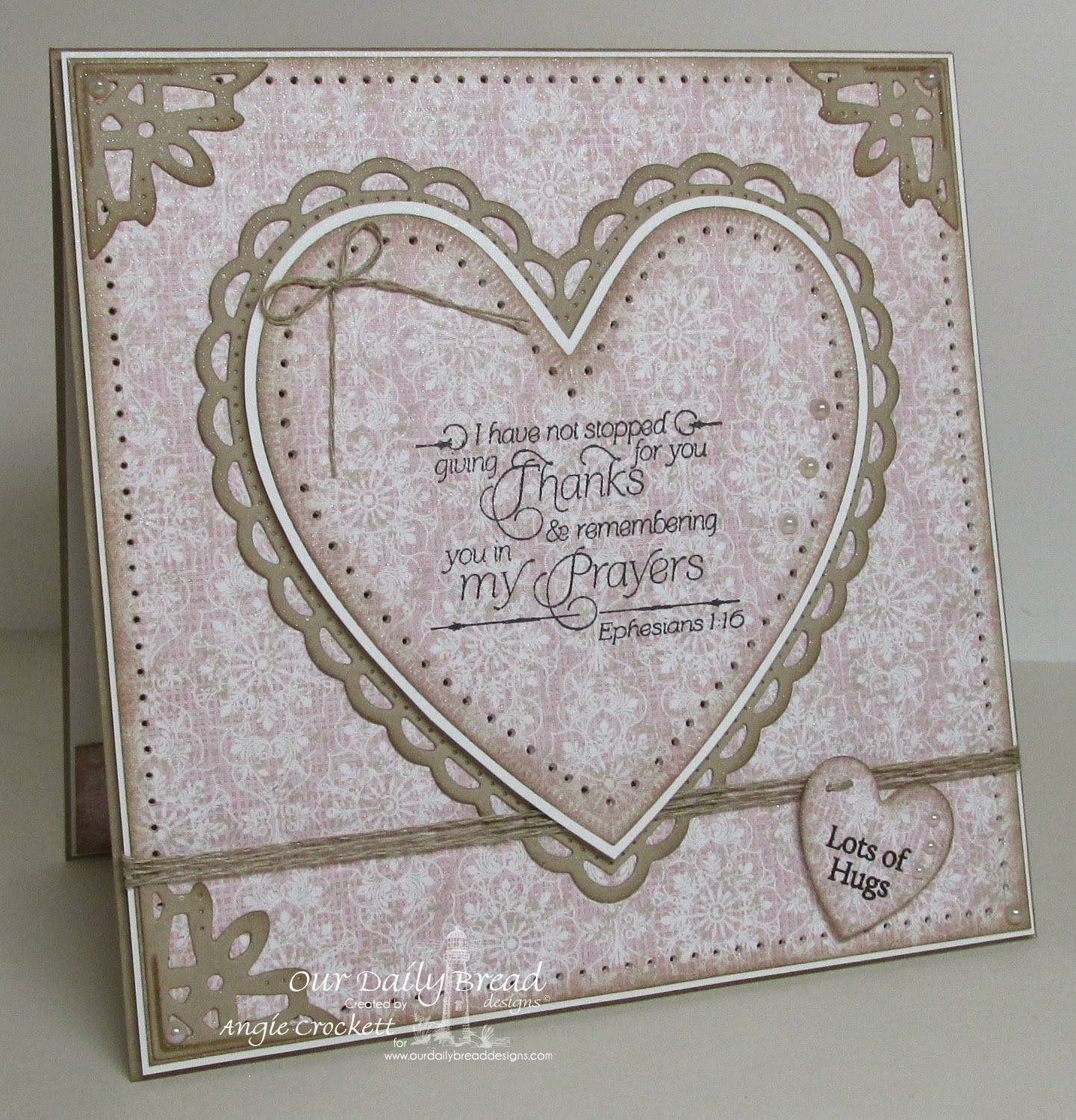ODBD Custom Ornate Hearts Dies, ODBD Custom Ornate Borders and Flower Dies, ODBD Heart and Soul Paper Collection, ODBD Thank You, ODBD Mini Tag Sentiments, Card Designer Angie Crockett