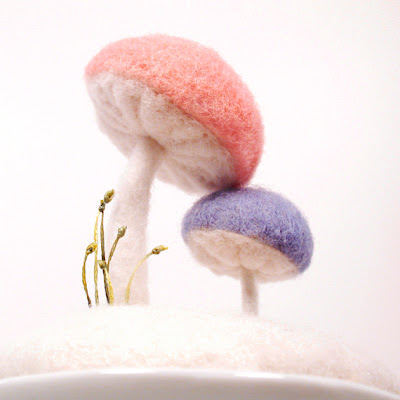 handcrafted wool mushroom pincushion in pink and blue - mother and son