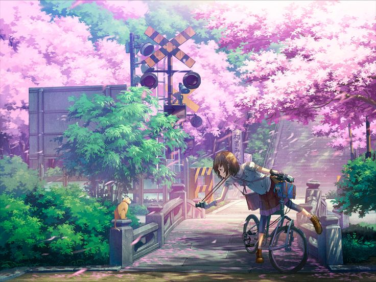 Gambar Animasi Pemandangan Alam Bergerak Indah Cewek Cantik Jepang Anime