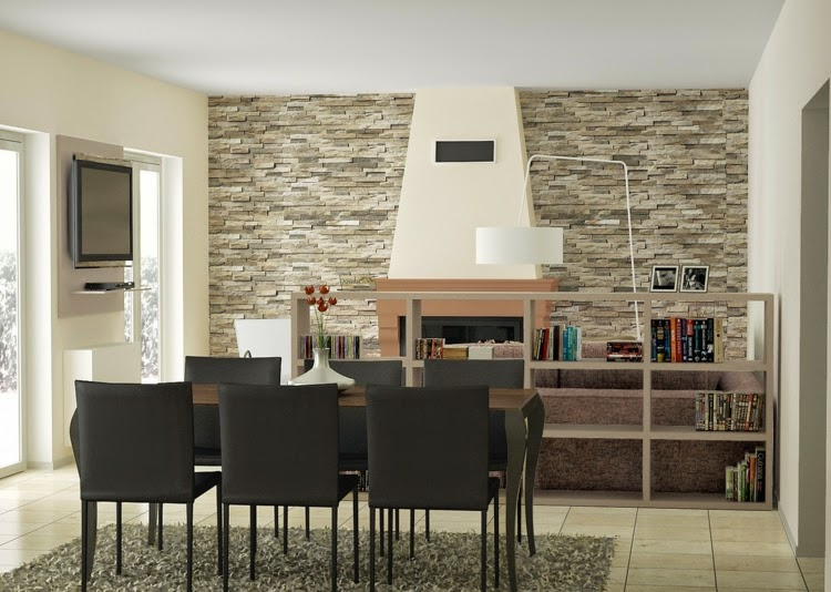 Charmant Decorative Wall Panels, Beautiful Dining Room With Natural Stone 3D Wall  Panel