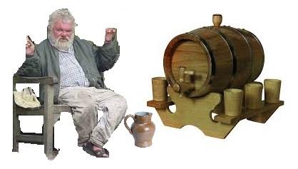 Homme usé, grès, vin...