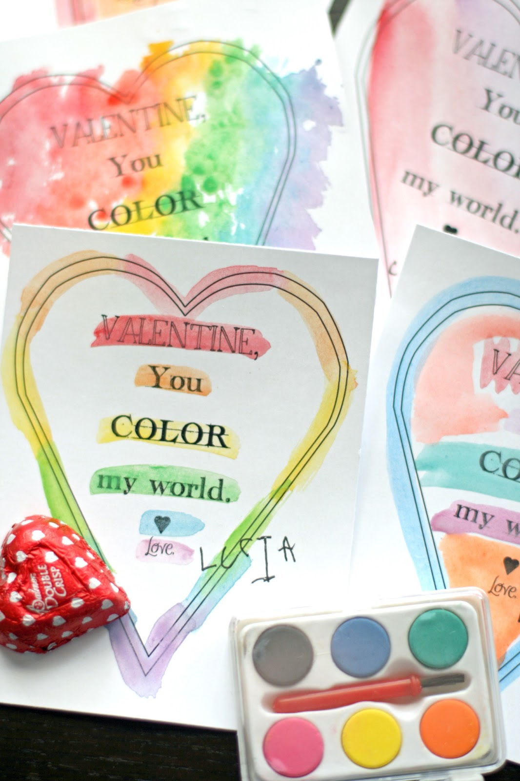 Valentine, You Color My World Template.