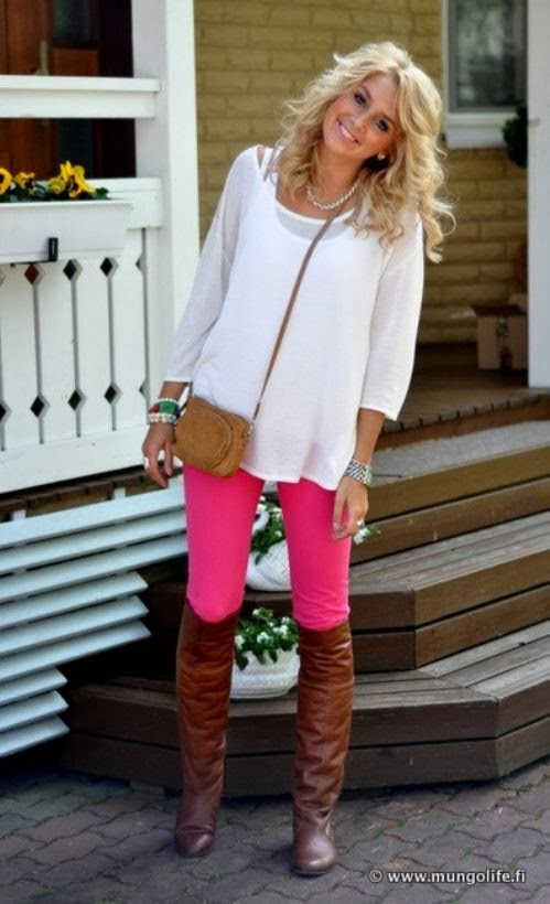 Adorable cute fashion with long boots with skinny pink jeans