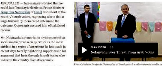 "BEFORE Headline:  ""Netanyahu Expresses Alarm That Arab Voter Turnout Could Help Unseat Him"""