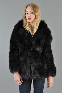 Vintage 1980's black fox fur fluffy coat.