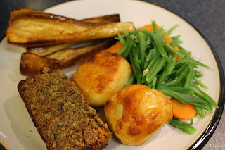 vegetarian Christmas dinner with nut roast