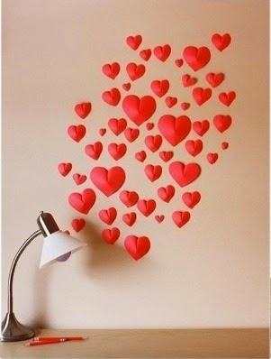 Easy Make a Wall of Paper Hearts 4