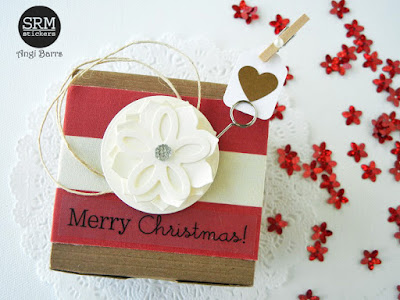 SRM Stickers Blog - Crafty Christmas Box by Angi Barrs - #kraftboxes #christmas #stickers #giftbox #DIY