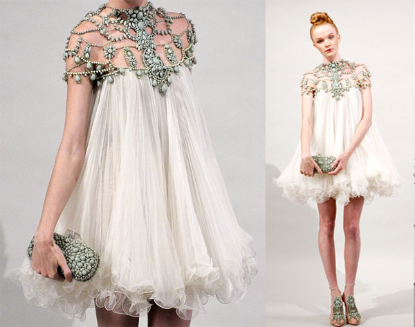 beaded neckline chiffon Marchesa designer dress