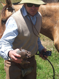Nigel Harvery with an armadillo