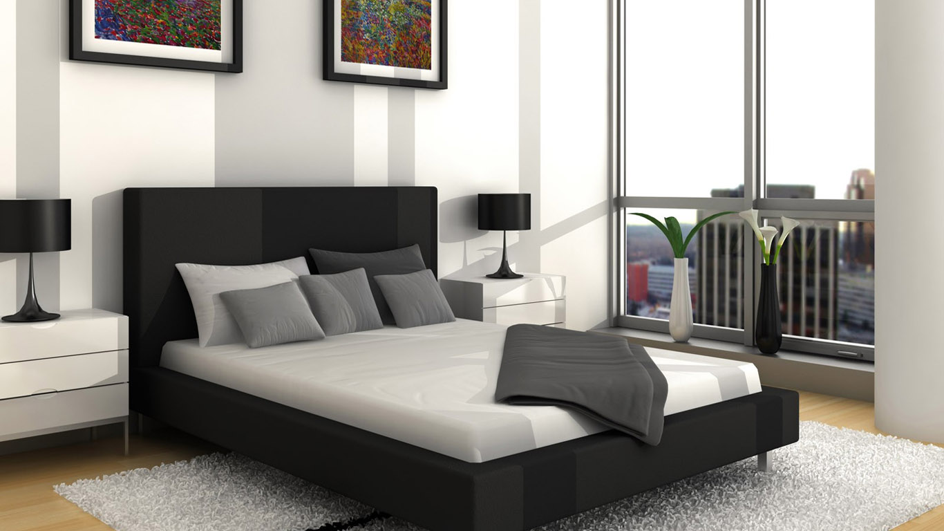 Wallpapers world black and white master bedroom ideas hd for Black and grey bedroom wallpaper