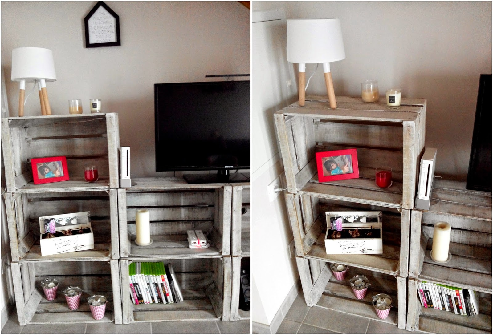 Do it yourself meuble tv avec caisses en bois bull 39 elodie for Meuble tv deco