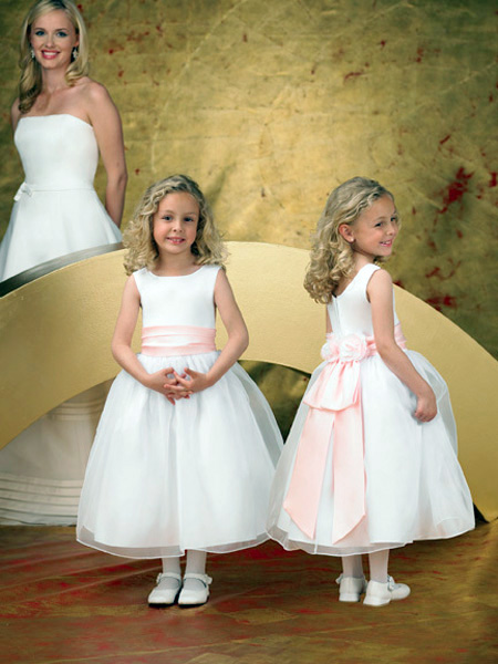 white tea-length tulle junior bridesmaid dress with pink bow
