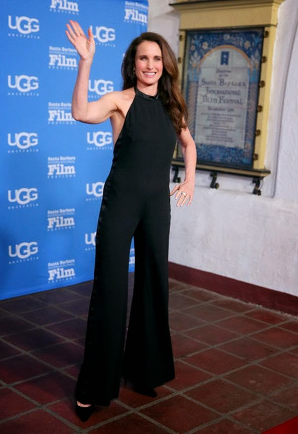 Andie MacDowell wears a black jumpsuit at Santa Barbara on Saturday, January 3, 2015