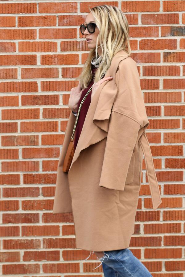 winter style camel burgundy stripes jeans