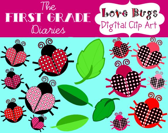 June Bug Clip Art Cute Love Bug Clip Art Set