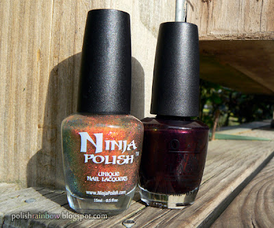 Ninja Polish Color Changing Garnet. OPI Every Month Is Oktoberfest.