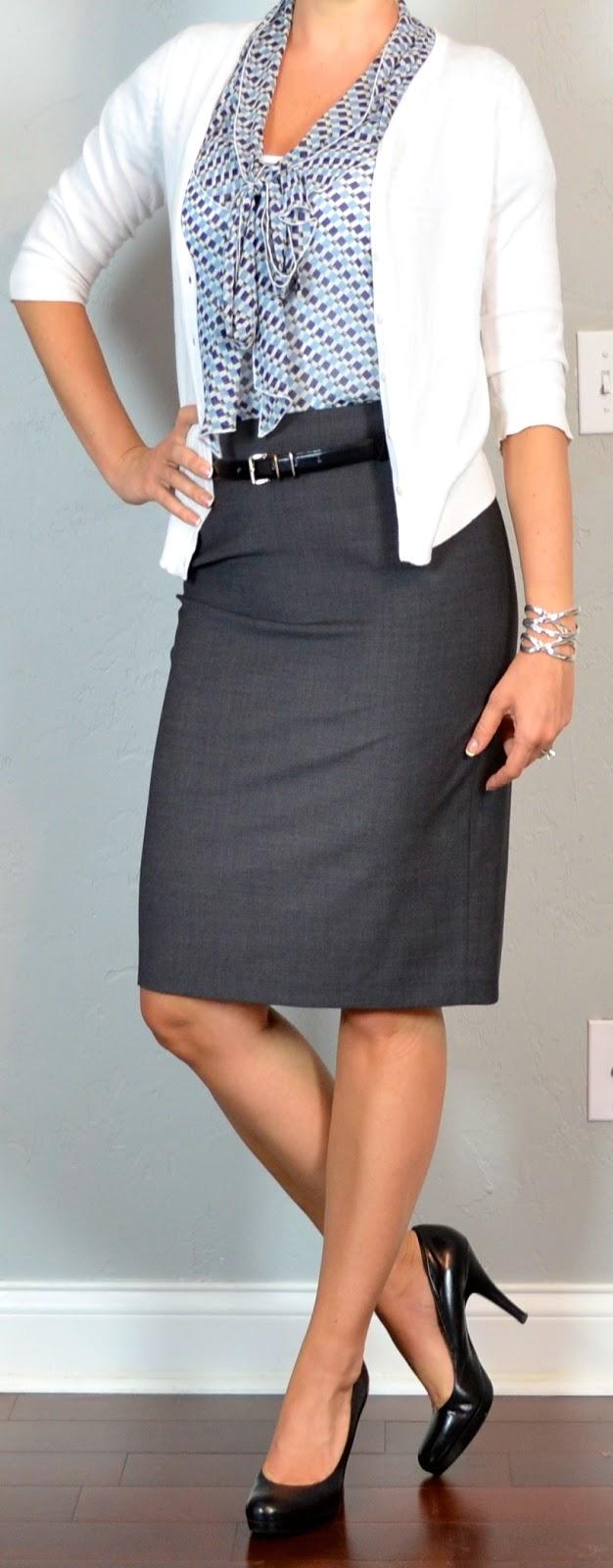 Outfit post grey pencil skirt blue pattern tie-neck blouse white cardigan black pumps ...
