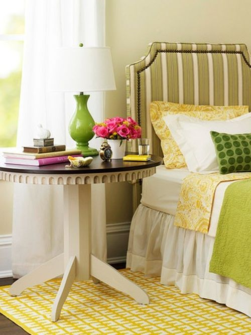 fresh green and yellow bedroom