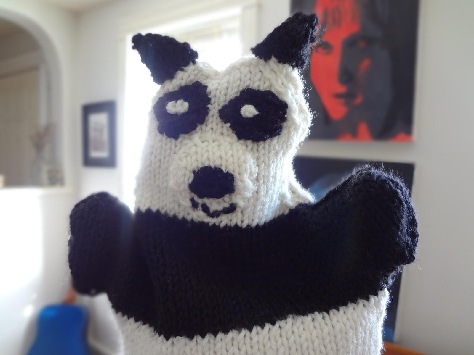 Domestic Bliss: Knitted Panda Bear Hand Puppet