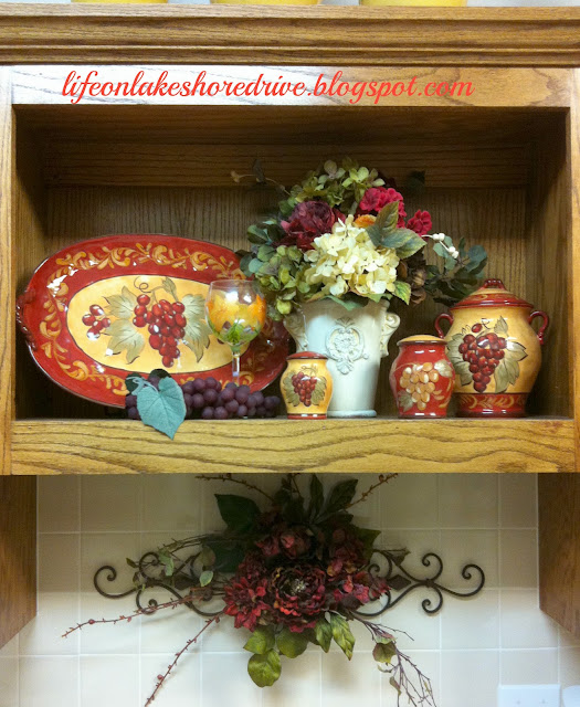 Red and gold kitchen vignette