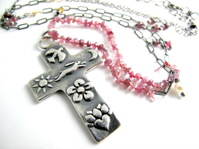 sterling silver jewelry cross rosary christian rabbit milagro necklace easter