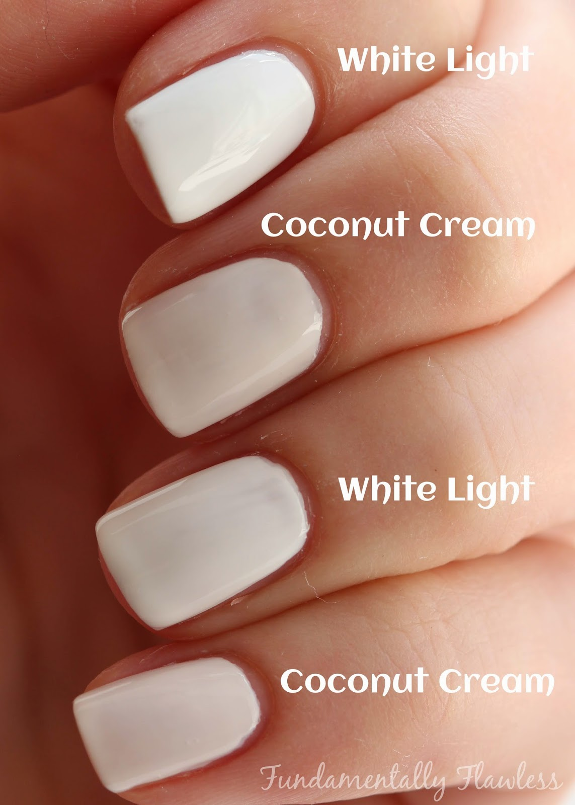 Models Own Coconut Cream vs White Light swatch