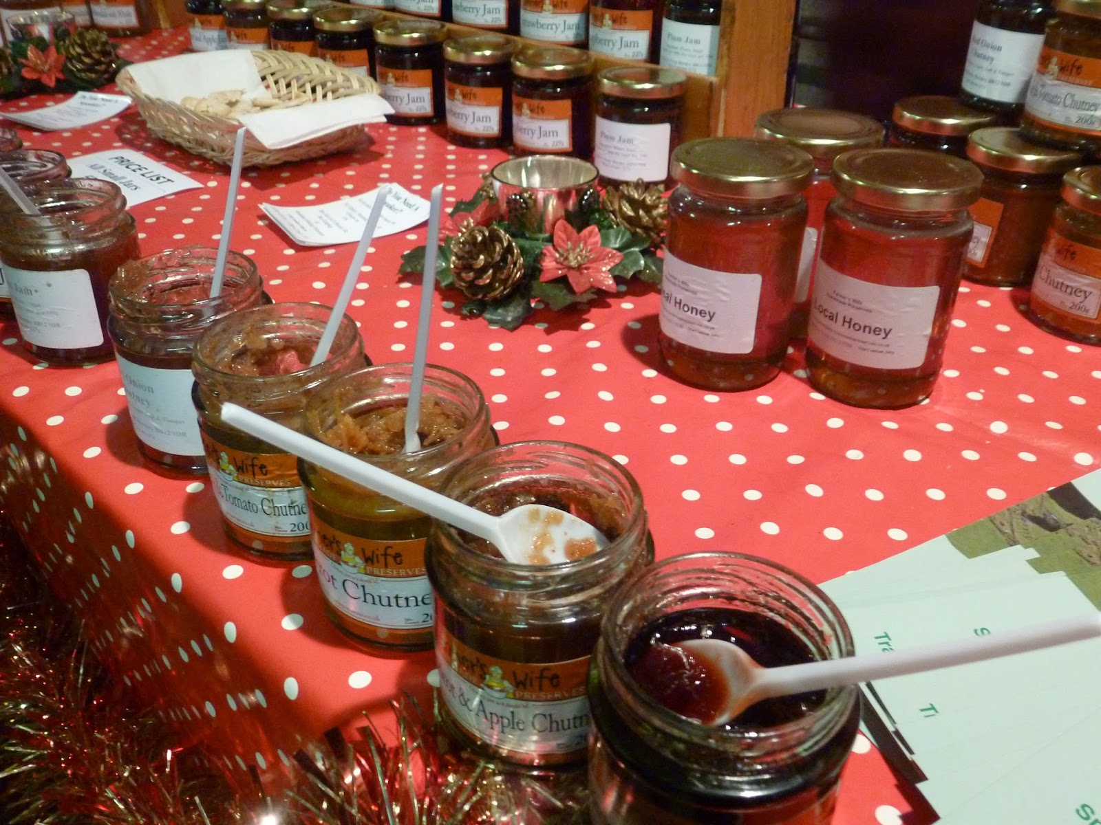 Farmers market stall jam and chutney