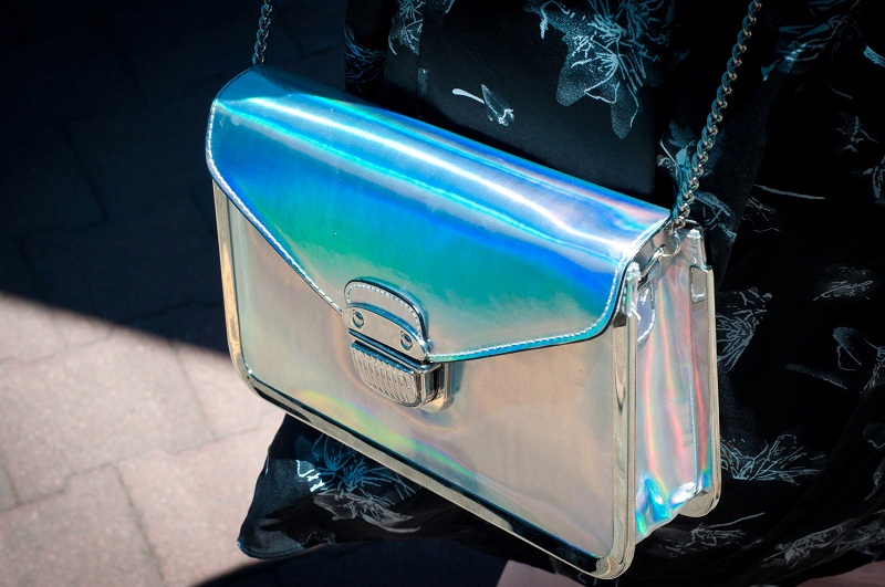holographic trend, vogue, digital, futuristic, metallic, street style, bag