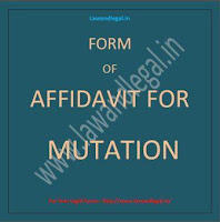 FORM OF AFFIDAVIT FOR MUTATION