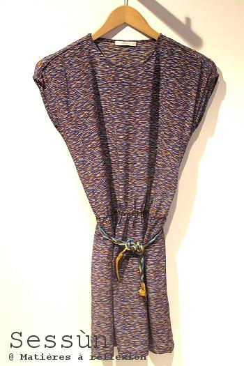 Robe en soie bleue Sessun vêtements Kalahari