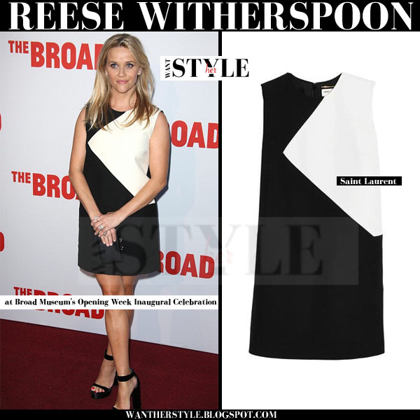 Reese Witherspoon in white and black mini dress satin laurent red carpet what she wore
