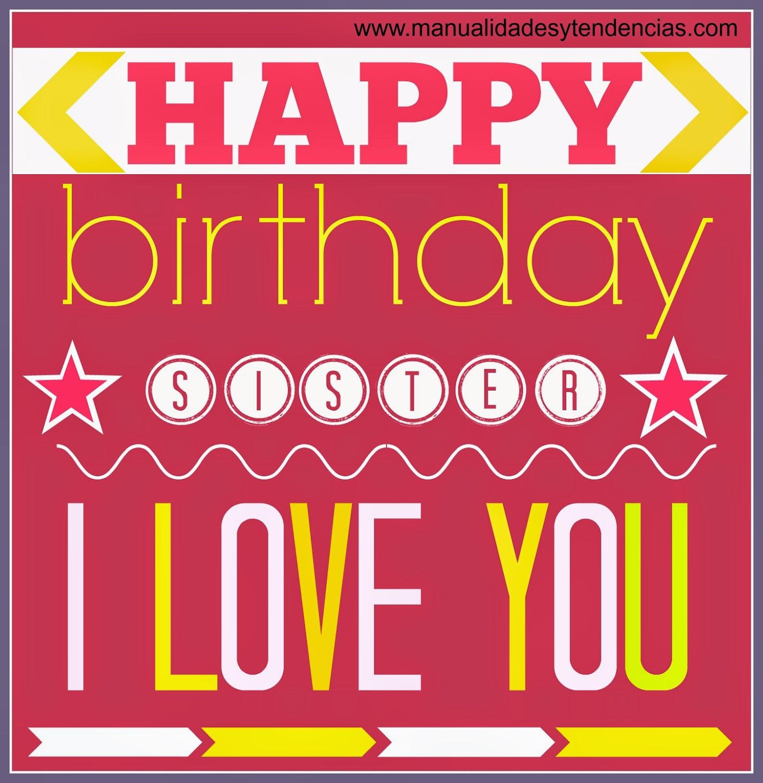 Tarjeta de cumpleaños imprimible gratis hermana