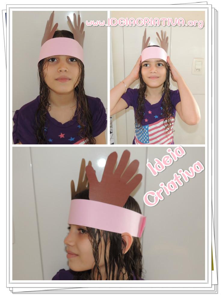 Chapéu Rena com Recorte de Mãos Atividade Natal Educação Infantil