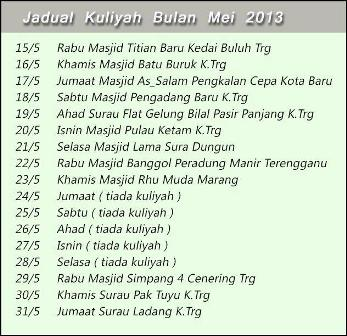 Jadual Kuliah Bulan MEI 2013