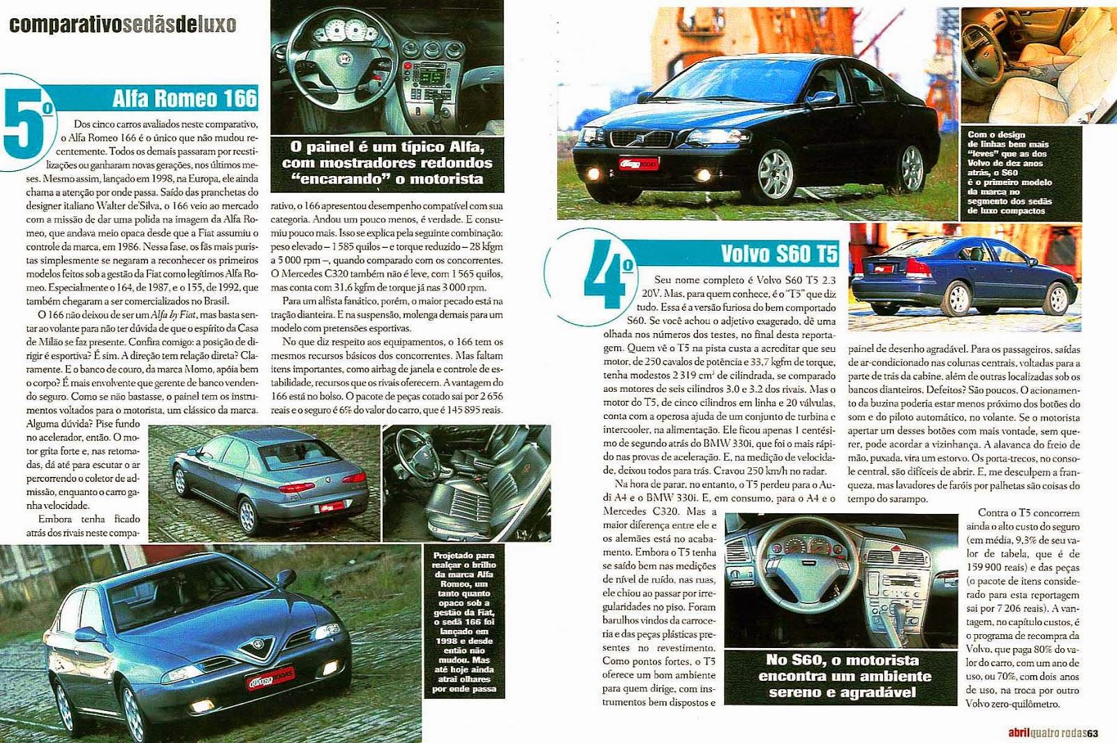 (W203): Avaliação - Revista Quatro Rodas - C320 x BMW 330i x Audi A4 x Volvo S60 T5 x Alfa Romeo 166 - abril/2002 501%2C063%2C42%2C04%2CTE