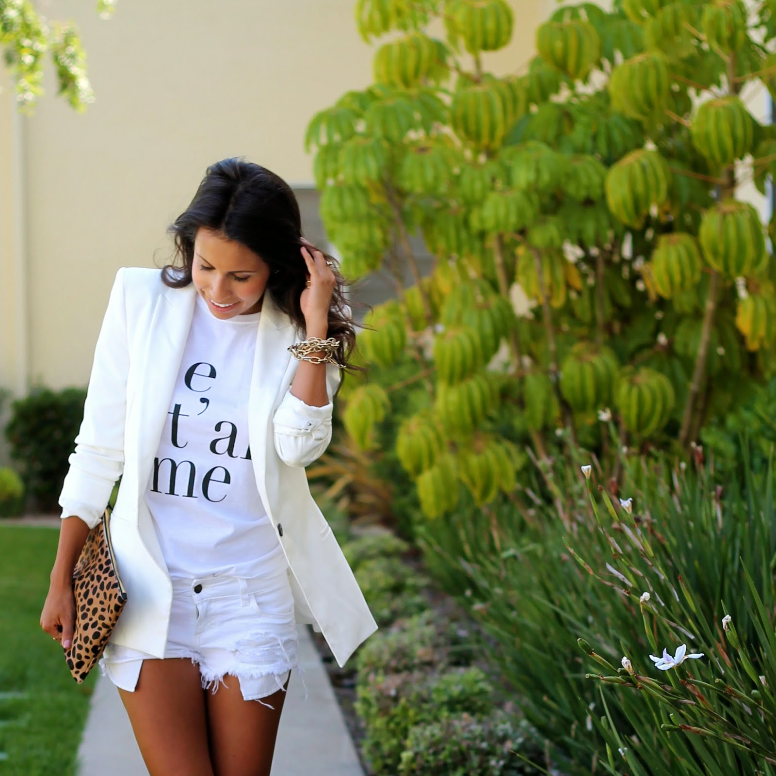 leopard clutch, graphic tee, what is fashion, cut-off shorts, white blazer