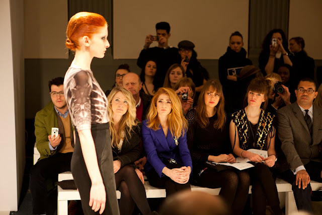 NICOLA ROBERTS FRONT ROW AT MY AW2011 'SPINED' COLLECTION SHOW
