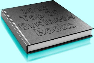 "Photo of black hard cover book with the phrase ""2013 Top 20 Business Books"" embossed on its cover"