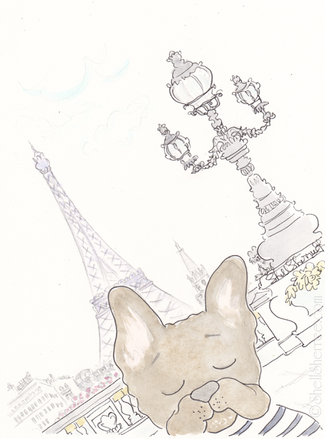Paris illustration : An Australian Frenchie in Paris © Shell-Sherree