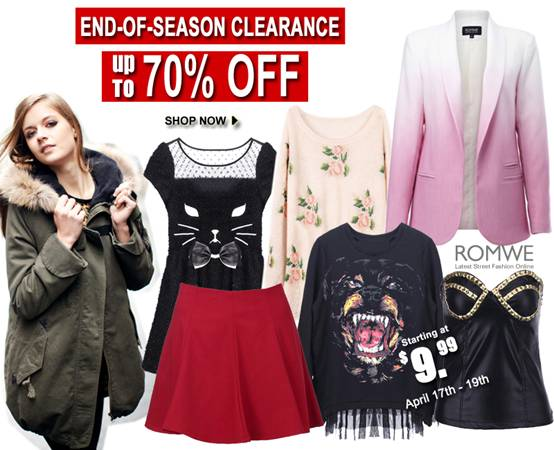 Romwe's End of Season Clearance 70% off