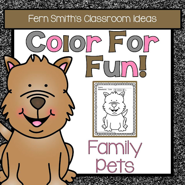 Fern Smith's Classroom Ideas FREE Color For Fun - Family Pets resource at Teacherspayteachers. One Free Dog Printable and One Free Cat Printable!