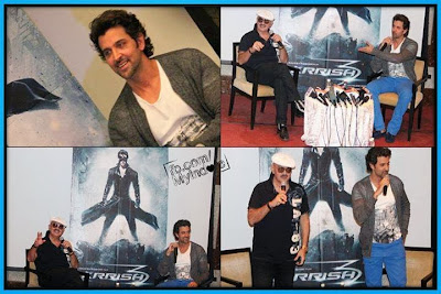 Hrithik and Rakesh Roshan at the press conference for #Krrish3 in Indore