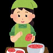ハンバーグを作る女性のイラスト